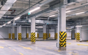 Underground parking garage with rows of led lights