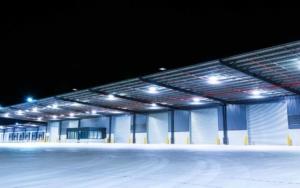 warehouse storage garage at night lit with led lighting