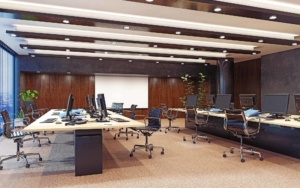 Empty office space with commercial led lighting